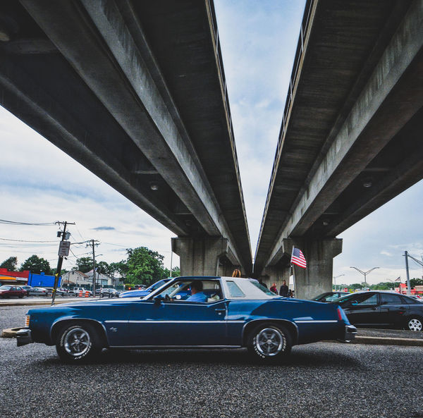 America Car Transportation Connection Land Vehicle Mode Of Transport Architecture Built Structure Outdoors Sky Day No People City New York Long Island Leading Lines Blue Classic Car Cars CarShow Pontiac