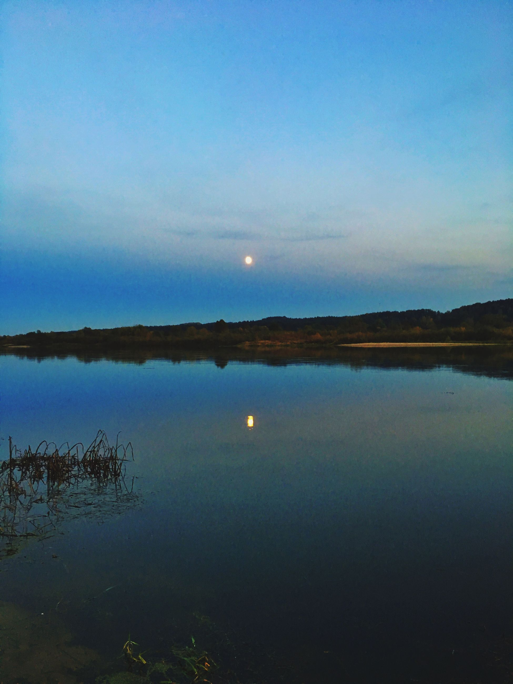 reflection, sky, nature, water, scenics, moon, beauty in nature, tranquility, no people, tranquil scene, outdoors, astronomy, day