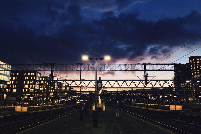 View of railroad tracks at sunset
