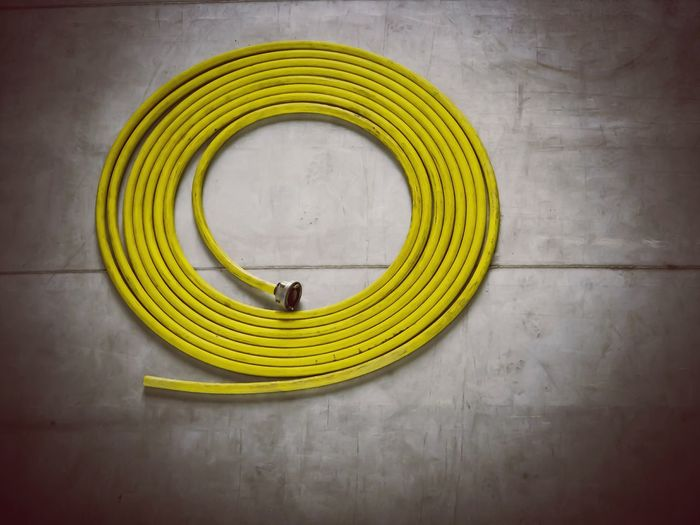 High angle view of hose on floor