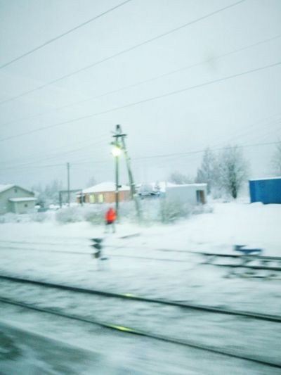 Winter Outdoors Snow RePicture Travel Mix Your World Traveling Russia Snowing Cold Eurotrip Travel Destinations Capture The Moment Capturing Movement Transportation Train On The Road On The Way Blurred Motion Motion Blur Motion Capture Moving On Going The Distance Travel Photography Red Enjoy The New Normal