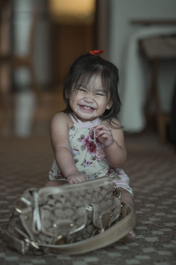 Our Paula Athena :) Child Sitting One Person Childhood Real People Indoors  Baby Innocence Babyhood Young Front View Cute Eyeem Philippines The Week on EyeEm Basket Portrait Smiling Happiness Focus On Foreground #NotYourCliche Love Letter My Best Photo