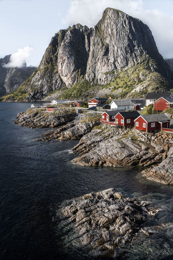 Amazing landscape from Lofoten - Norway Norway Architecture Beauty In Nature Built Structure Cliff Day Fisherman Hamnøy House Landscape Lofoten Mountain Mountain Range Nature No People Outdoors Rock Rock - Object Rock Formation Scenics Sea Sky Tranquility Village Water Been There.