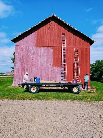 Outdoors Red Bluesky Grass Day Field Painting RedBarn_Photography BeforeAndAfter  Granfather Two Men Built Structure Building Exterior Sky