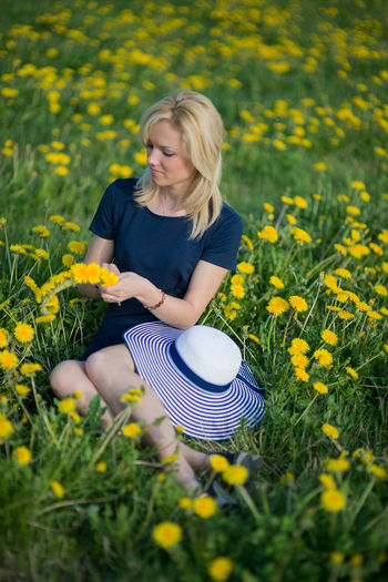 Beuty Blonde Blonde Girl Crown Dandelions EyeEmNewHere Fashion Field Flowers GREEN LIFE Hat Hats Health Healthy Lifestyle Heppy Human Human Body Part Meadow Natural Beauty Nature People Smile Woman Woman Portrait Yellow Youth Women Around The World