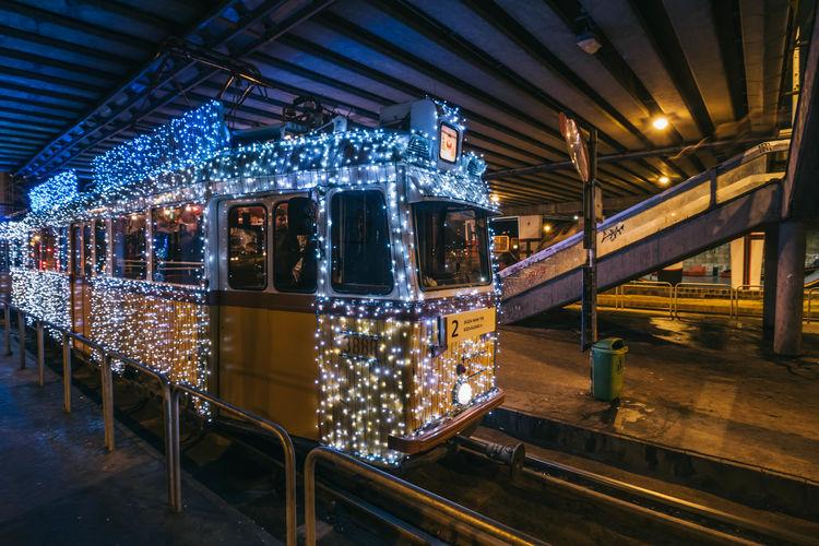 Budapest Tram Architecture Built Structure Carousel Illuminated Indoors  Lighting Equipment Night No People