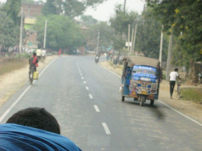 Road Roadtrip Autorickshaw Motorcycle Motorbike Indian Road Nalanda Bihar Bihar, India India Metalled Road On The Way
