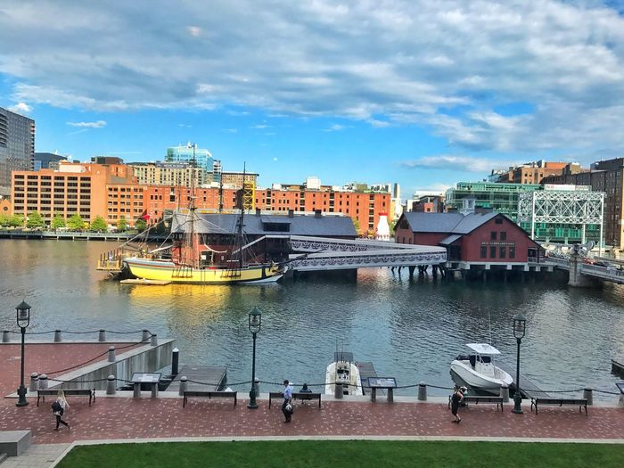 Boston harbor Architecture Built Structure Building Exterior Sky Cloud - Sky Water Day Outdoors City Nautical Vessel No People Moored Nature
