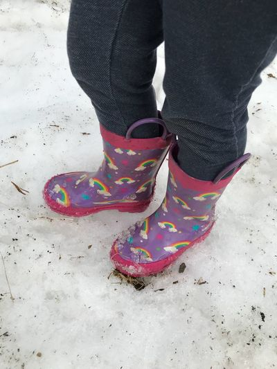 Snow fun Rainbow Snow Mud Boots Low Section One Person Human Leg Standing Human Body Part Day Outdoors