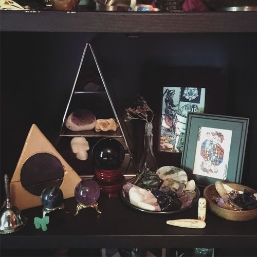 Altar Altars Pagan Magick Crystals Gemstones Pyramid Pyramid Shelf Offering Bowl Occult Occultism Altar Dark Darkaesthetic Witchy