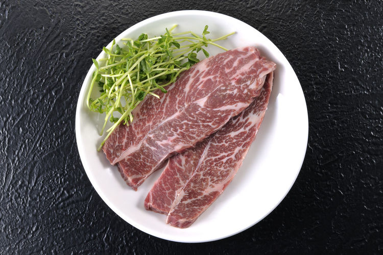 Beef Close-up Day Food Food And Drink Freshness Indoors  Meat No People Plate Pork Raw Food Steak 享受 滿足 背景 芽 菜 蔬菜 食材 鮮肉 黑