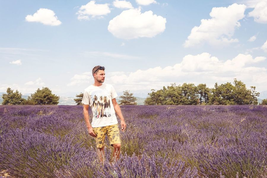 EyeEm Selects Adult One Person Front View Adults Only Cloud - Sky One Man Only People Summer Sky Agriculture Only Men Nature Men Day Outdoors Flower Rural Scene Portrait Lavender Colored Lavenderflower Valensole Beauty In Nature Standing Young Adult