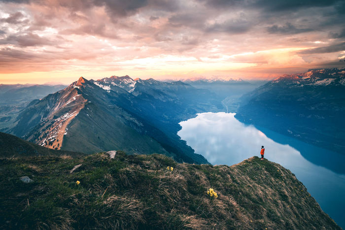 Epic sunset high above the Lake Brienz on top of the Augstmatthorn The Week on EyeEm Betterlandscapes Activity Adventure Beauty In Nature Cloud - Sky Environment Hiking Idyllic Leisure Activity Lifestyles Mountain Mountain Peak Mountain Range Nature Non-urban Scene One Person Outdoors Real People Scenics - Nature Sky Sunset Tranquil Scene Tranquility The Great Outdoors - 2018 EyeEm Awards
