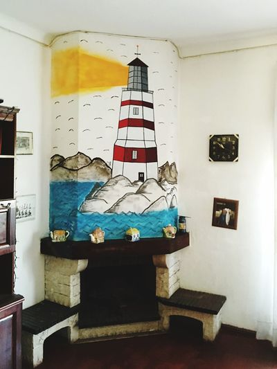 My painting on a fireplace, a little bad but nice ... Indoors  Stack Book Home Interior Home Improvement Messy Abundance Large Group Of Objects Paintings Shelf Blue Domestic Life Sea And Sky Landscape