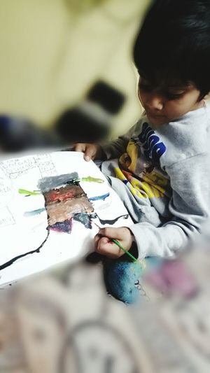 Child People Togetherness Indoors  Childhood Day Human Body Part Human Hand Adult My Son First Art Baby Artist Cuteee Pie