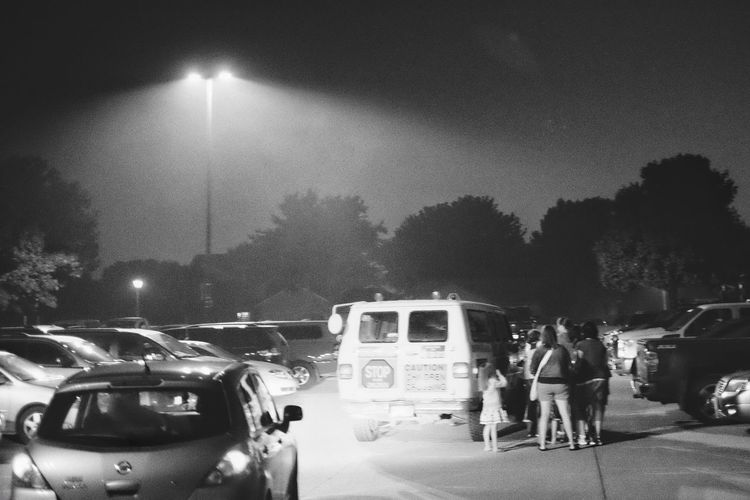 A Day In The Life Americans Film Noir Fourth Of July Ice Cream Truck Illuminated Independenceday Lifestyles MidWest Nebraska Night Noir Et Blanc Outdoors Parking Lot Photo Essay Road Small Town USA