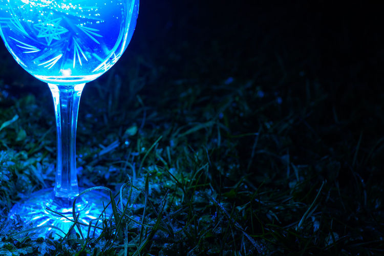Close-up of wineglass on field