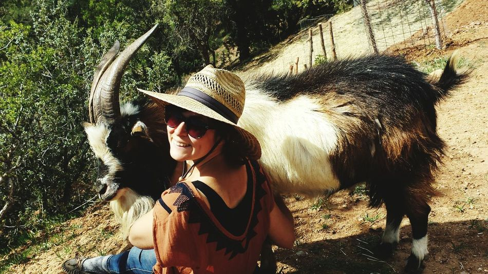 Time on the mountain. Wild Things Goat Girl And Her Goat Love Friends Bondng Vacation Nature Relaxing Chilled Out