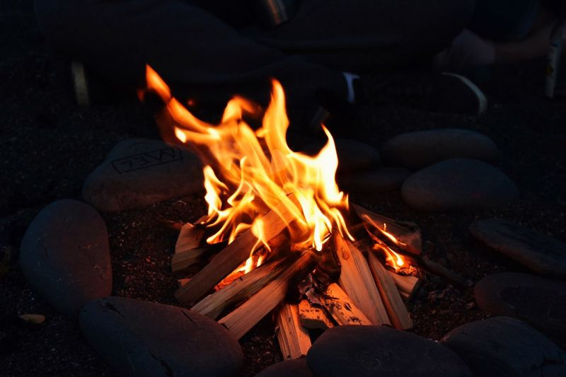 Burning Fire Heat - Temperature Fire - Natural Phenomenon Flame Wood Log Night Wood - Material Firewood Bonfire Glowing Orange Color Nature Motion Land Event No People Rock Campfire