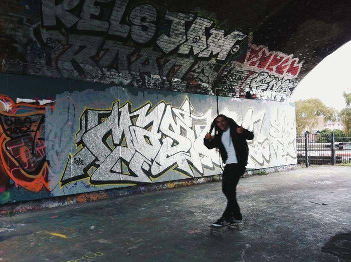 Skateboard bombing from a skateboard kid. Urban Lifestyle Skateboarding Graffiti Streetphotography Streetart London The Street Photographer - 2015 EyeEm Awards