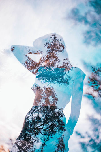 Double Exposure EyeEmNewHere Trees Cian Day Good Vibes Low Angle View One Person Outdoors Real People Sexygirl Sillouette Sky Summer Vibes Texture #FREIHEITBERLIN