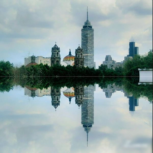 Reflection Architecture Building Exterior Built Structure Water City Sky Travel Destinations Waterfront Famous Place Symmetry Tower Cloud Tall - High Cloud - Sky Tranquility River Skyscraper Tourism Standing Water City Life Somewhere In Mexico México City Downtown Mexico De Mis Amores Battle Of The Cities