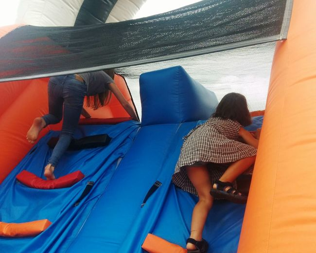 Inflatable climbing wall Girls Climbing Play Inflatable Castle Childhood Child EyeEm Selects Rear View