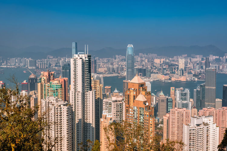 Overlooking the Victorian landscape Tourist Attraction  Urban Style Prosperous City China Blue Sky Landscape Financial Center Special Administrative Region Skyscraper Shopping Haven Modern Cityscape Development Of Scenery Pearl Of The Orient High-rise Building HongKong Victoria Harbour Central