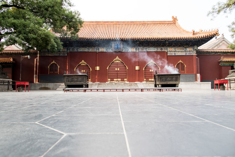 "Inside ""Lama temple"", Yonghegong, Beijing, China ASIA Architecture Beijing Lama Temple Sacred Places Sightseeing Travel Worship Architecture Buddhism Buddhist Temple Building Exterior Built Structure China Culture And Tradition Day Design Landmark No People Outdoors Palace Prayer Religion Temple Tree"