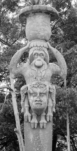 Northern Ireland Mount Stewart National Trust Mount Stewart Gardens Mount Stewart Monument Garden Statue Formal Garden Formal Gardens Column Carving - Craft Product Architectural Column Stone Carving Alice In Wonderland Black And White Orangutan