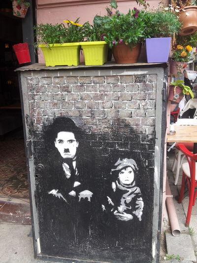 Istanbul Turkey Turkey Streetart Kadikoy Charliechaplin Kid Black And White