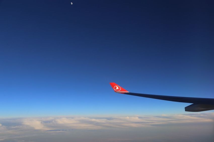 Airplane Blue Flying Red No People Transportation Sky
