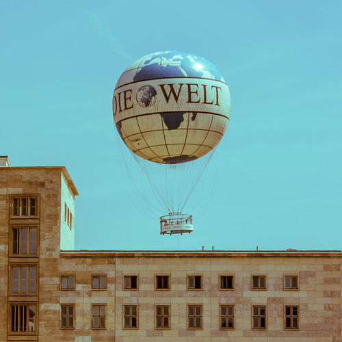Architecture Berlin Blue Built Structure Clear Sky Day Die Welt Hot Air Balloon Low Angle View News Newspaper No People Outdoors Sky