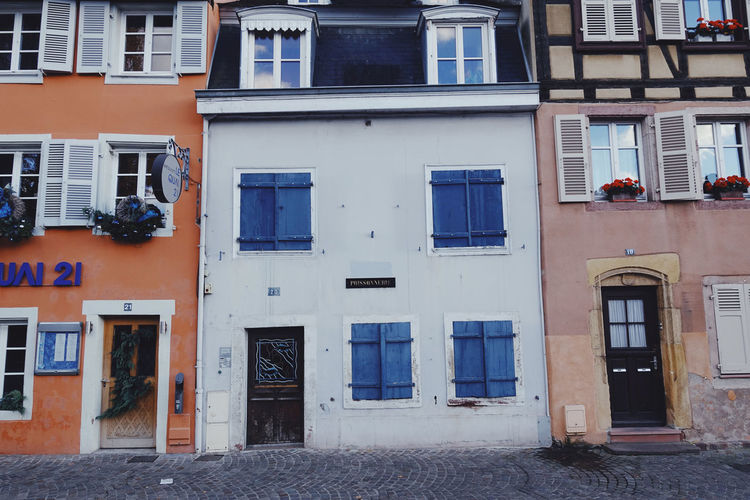 Architecture Building Exterior Window Building Built Structure Door Day No People House Blue Side By Side Wall Apartment Town Village City Cityscape City Life Streetphotography Street Lifestyles Life France Daylight Travel