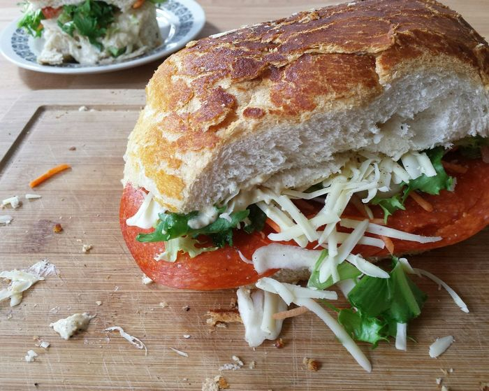 Sandwich Humous Salad Lunch Food Foodporn Food Porn Foodphotography Yum Tasty Table Kitchen Plate Learn & Shoot: Simplicity Butty Sarnie BIG Tiger Bread Cheese Peperoni Lunchtime Lunch Break Yummy Sandwiches Sandwich Time