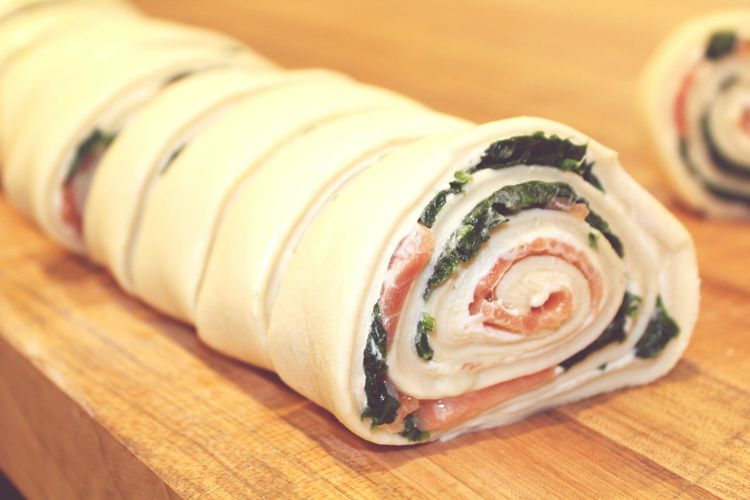smoked salmon, spinach and cream cheese pastry Patisserie Croissant Smoked Salmon  Spinach Creamcheese Kitchenlife