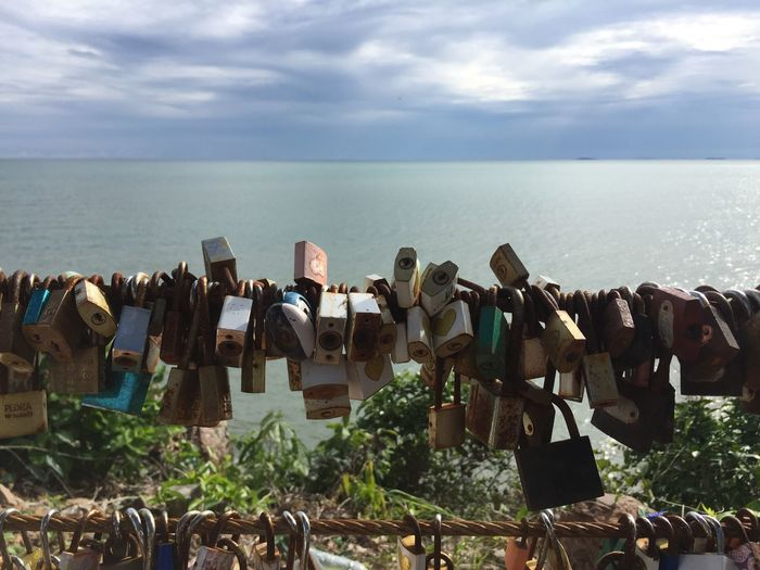 Log And Key Key Locked Sky And Clouds Sea Sea And Sky Thailand Chanthaburi KungWiman Beach Lock Latch Latchkey