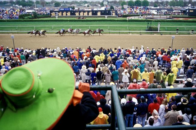 Usa, Kentucky: at the Kentucky Derby Analogue Photography Derby Green Hat Horses Kentucky  Looking Down Racing Churchill Downs Colorful Crowd Day Decoration High Angle View Large Group Of People Lifestyles Outdoors Race Thoroughbred