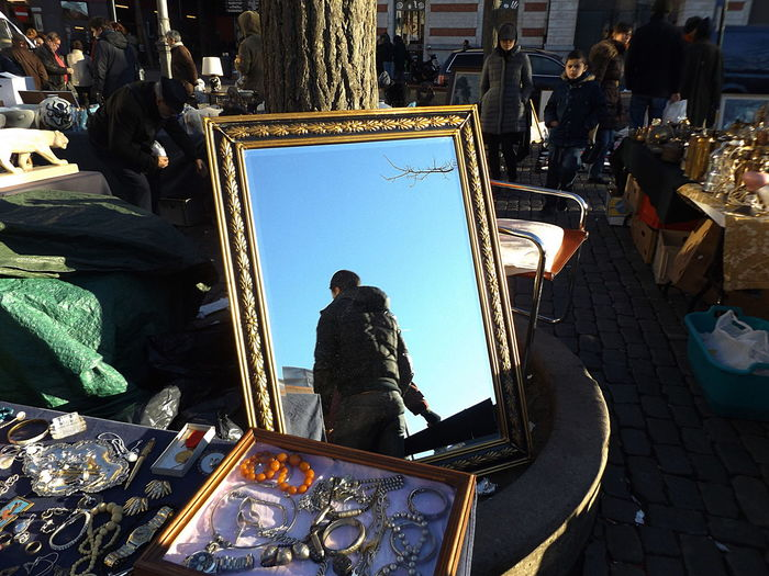 Man in the Mirror part 2. Fleamarket Real People One Person Day Outdoors Sunlight Streetphotography Natural Light Togerherness Mirror Clear Sky Blue Low Angle View Travel Destinations Historical Place Vintage