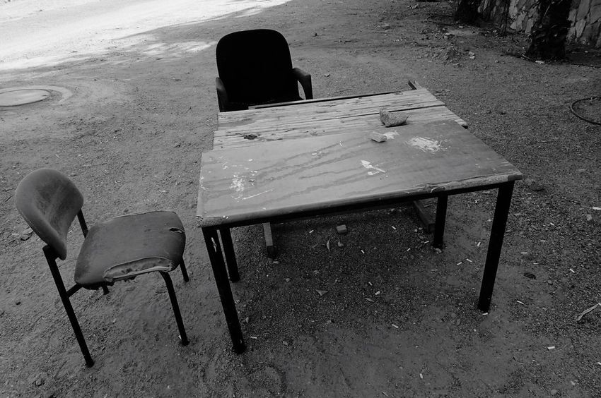Table Chair Empty Absence No People Furniture Outdoors Outdoor Office Bw Photography Street Photography