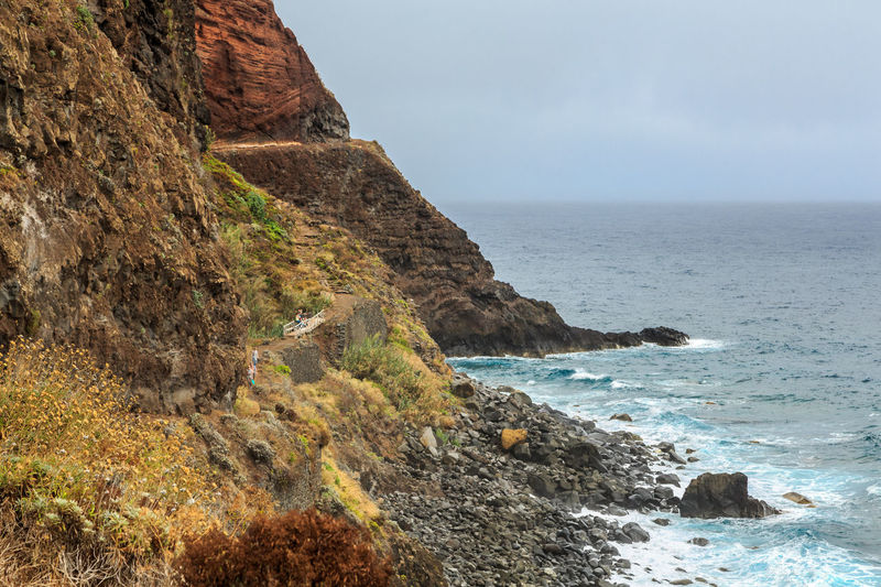 Madeira Island São Jorge Walk Beauty In Nature Cliff Day Horizon Over Water Nature Outdoors Persons Rock - Object Rock Formation Scenics Sea Sky Tranquil Scene Tranquility Vereda Water Wave
