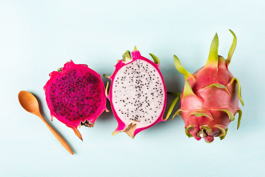 Dragon fruit or Pitaya Close-up Directly Above Dragon Fruit Food Food And Drink Freshness Fruit Group Of Objects Healthy Eating High Angle View Pink Color Pitaya Seed Still Life Studio Shot Thai Fruit Thai Fruits Top View Of Food Tropical Fruit