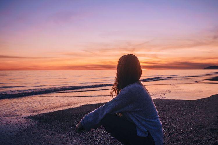 Woman Beach Sunset Sun Light And Shadow Light Ocean Calm Ocean View darkness and light Sad & Lonely Meditation Hair Girl Portrait Portrait Of A Woman Portrait Photography Landscape Golden Hour Golden Colors Sunrise Sunrise_sunsets_aroundworld Sunset Sunset_collection