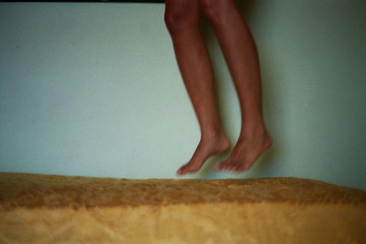 Analog Analogue Analogue Photography Bed EyeEm EyeEm Best Edits EyeEm Best Shots EyeEm Gallery EyeEmBestPics Feet Girl Indoors  Jump Jumping Young Youth TheWeekOnEyeEM