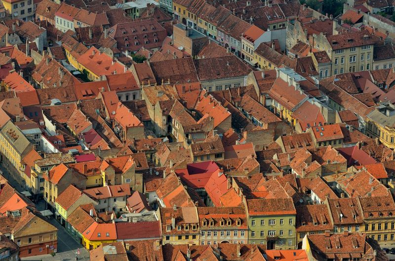 Aerial View Of Red Roofs Of Old Town