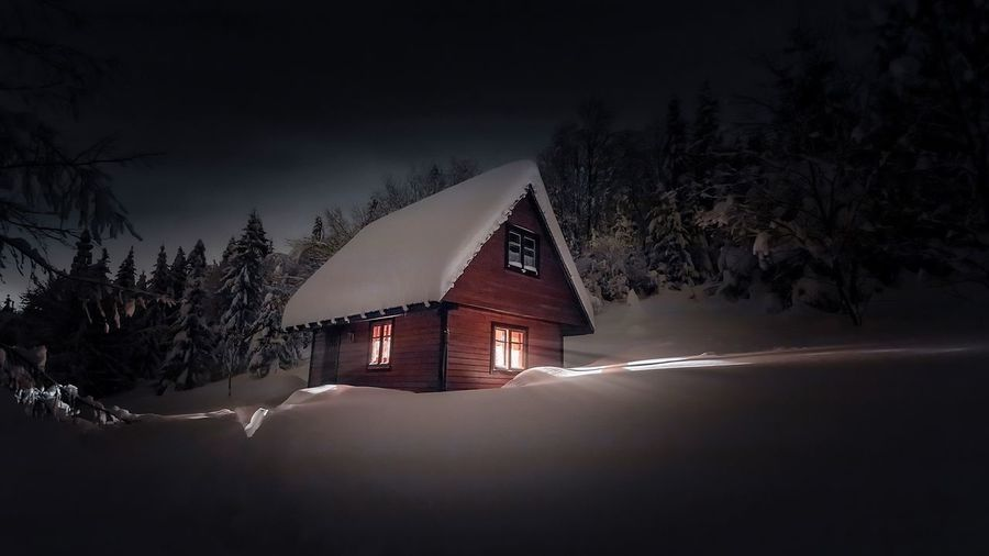 Tree Winter Illuminated House Sky Building Exterior Architecture Built Structure Planetary Moon Space And Astronomy Galaxy Moon Surface Star Field Shack Constellation Full Moon Milky Way Star - Space Star Trail Nebula Barn Half Moon Infinity Astrology Hut Moonlight Moon Starry Astronomy