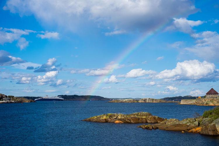 Cloud Coastline Horizon Over Water Idyllic Nature Ocean Outdoors Rainbow Rocks Scenics Sea Ship Sky Sky And Clouds Tranquil Scene Tranquility Water Xseries Xt1