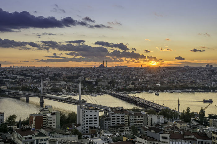 Sunset over Istanbul City ASIA City Cloud Istanbul Metro Nature Turkey Architecture Bridge - Man Made Structure Building Exterior Cityscape Cloud - Sky Crowded Europe High Angle View History Istanbul - Bosphorus Istanbul Turkey Istanbuldayasam Istanbulove Outdoors Photography Sky Sunset Train