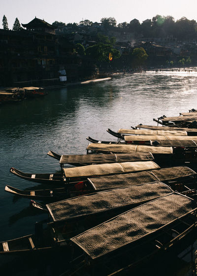 The Ancient Phoenix City of Fenghuang, China Ancient Boat Boats Bridges Chilling Chinese Chinese Food City Classic Crossing Docked Dusk Lighting Mode Of Transport Orient Oriental Resting River Stepping Sunset Town Travel Destinations Village Walking Water The Photojournalist - 2017 EyeEm Awards