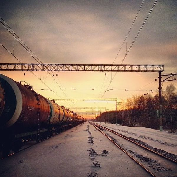 Voskresensk воскресенск Лес снег закат поезд ржд